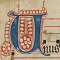 Capital U from the Preface of Saints, Franciscan Antiphoner