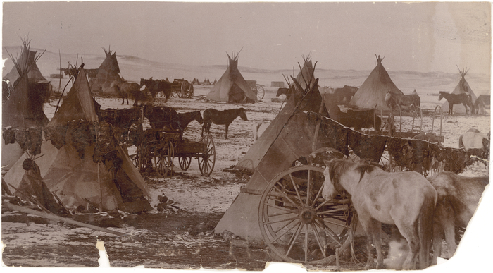 View overlooking a Sioux camp scene