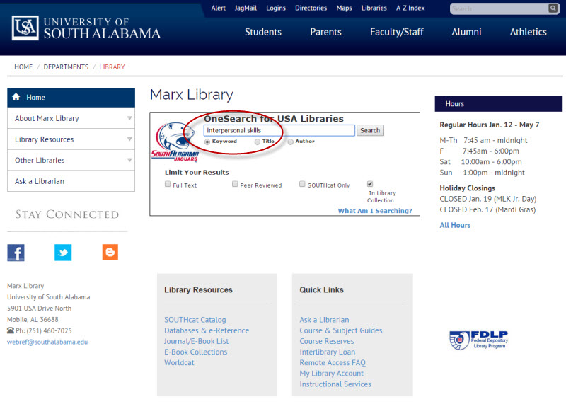 screenshot of Marx Library homepage with OneSearch highlighted