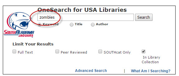 screenshot of search term in OneSearch search box