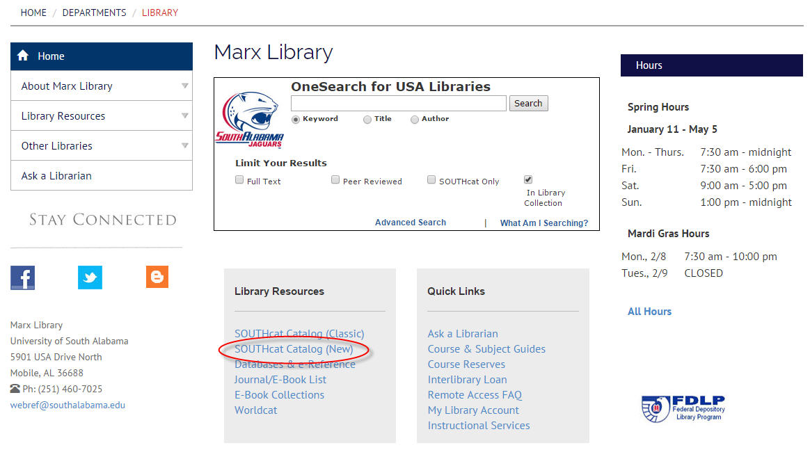 screenshot of Marx Library homepage with SOUTHcat link highlighted