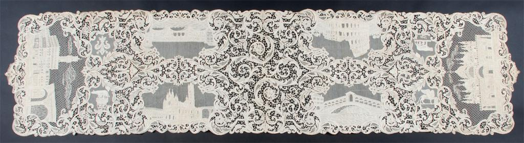 Table runner depicting architectural landmarks (textile), 20th century, 19 1/2 x 84 7/8 inches. Flint Institute of Arts. Retrieved from ARTSTOR