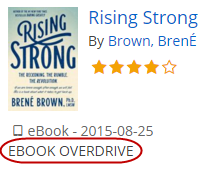 The item Rising Strong is labeled as EBOOK OVERDRIVE.
