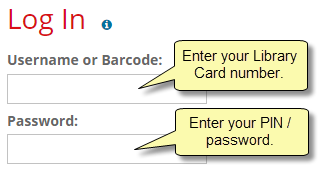 Screenshot of the Login screen, with note: Your barcode is your library card number, and your password is the same as your PIN.