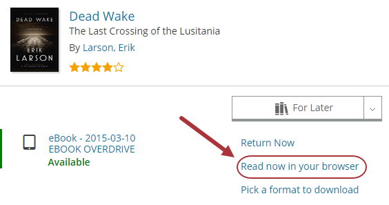 "Screenshot showing a checked out item with the link, ""OverDrive Read."""