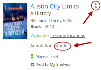 "Arrow indicating the Add icon on the book, ""Austin City Limits: A History."""