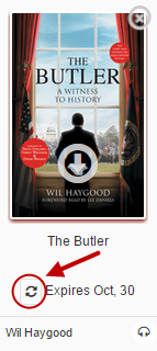 The book The Butler with a renew icon showing two arrows going in a circle.