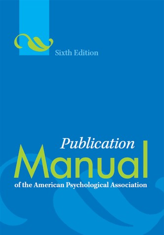 Publication Manual of the American Psychological Association Sixth Edition cover art