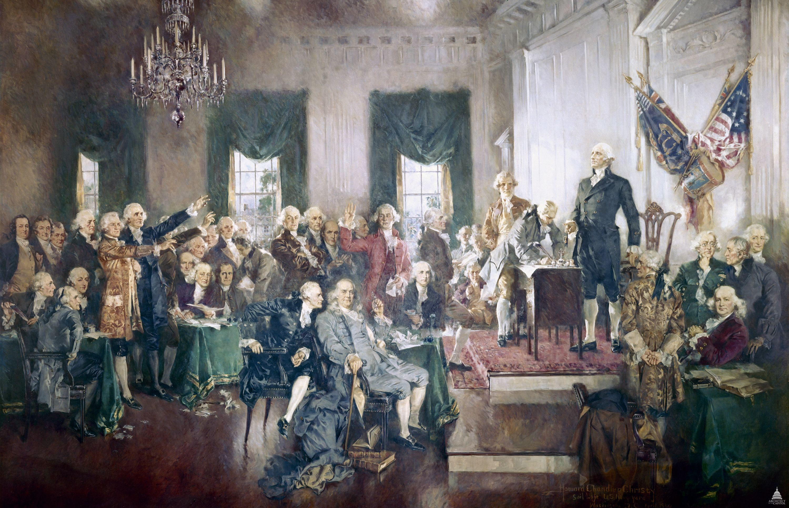Image of painting of the signing of the American Constitution