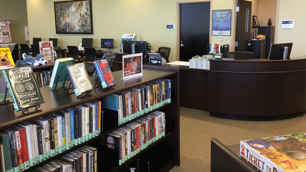 A photograph of bookshelves at Golden Isles Library