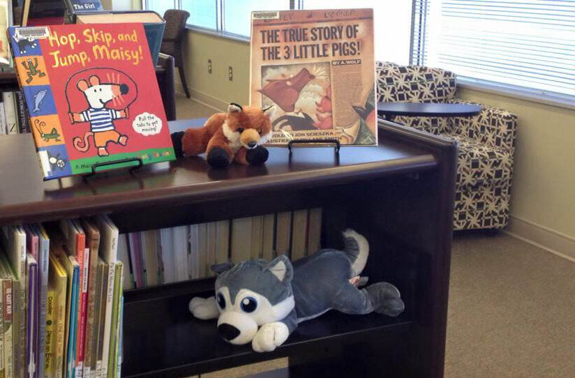 Image of children's books and stuffed animals at the Golden Isles Library