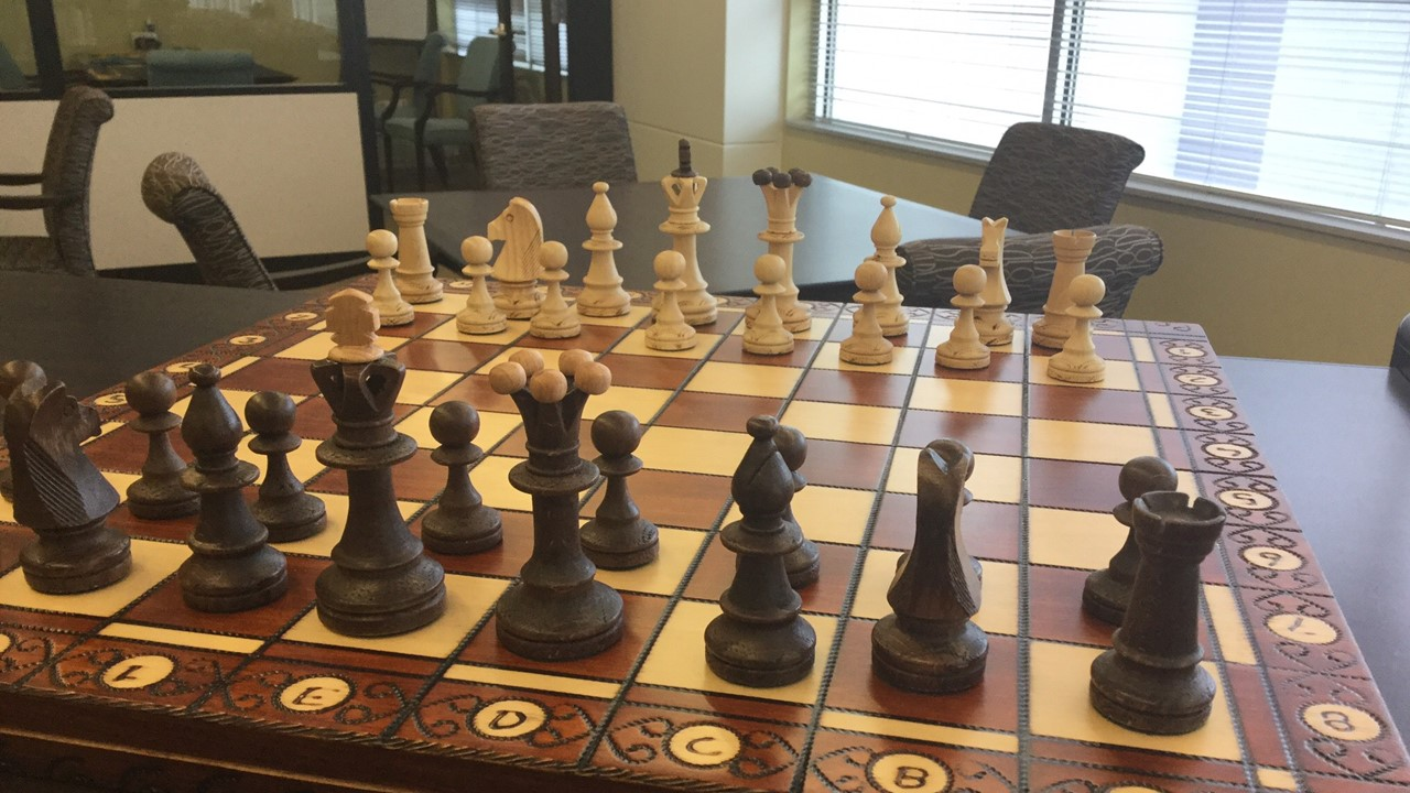 A photograph of a chess set at Golden Isles Library