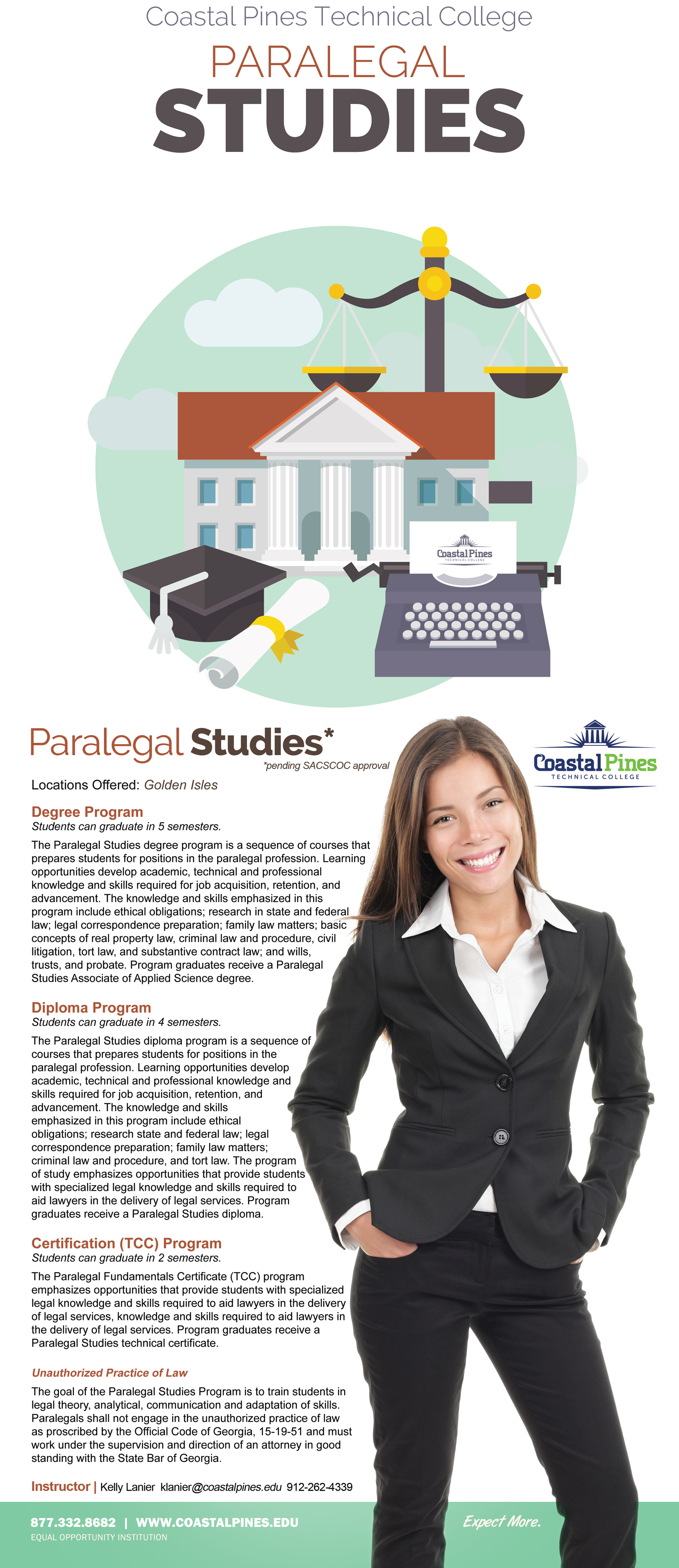 Image promotional poster for CPTC paralegal studies program