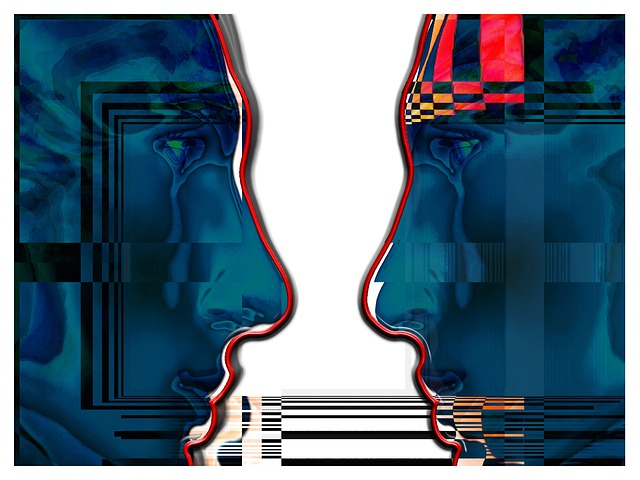 Image graphic illustration of two faces