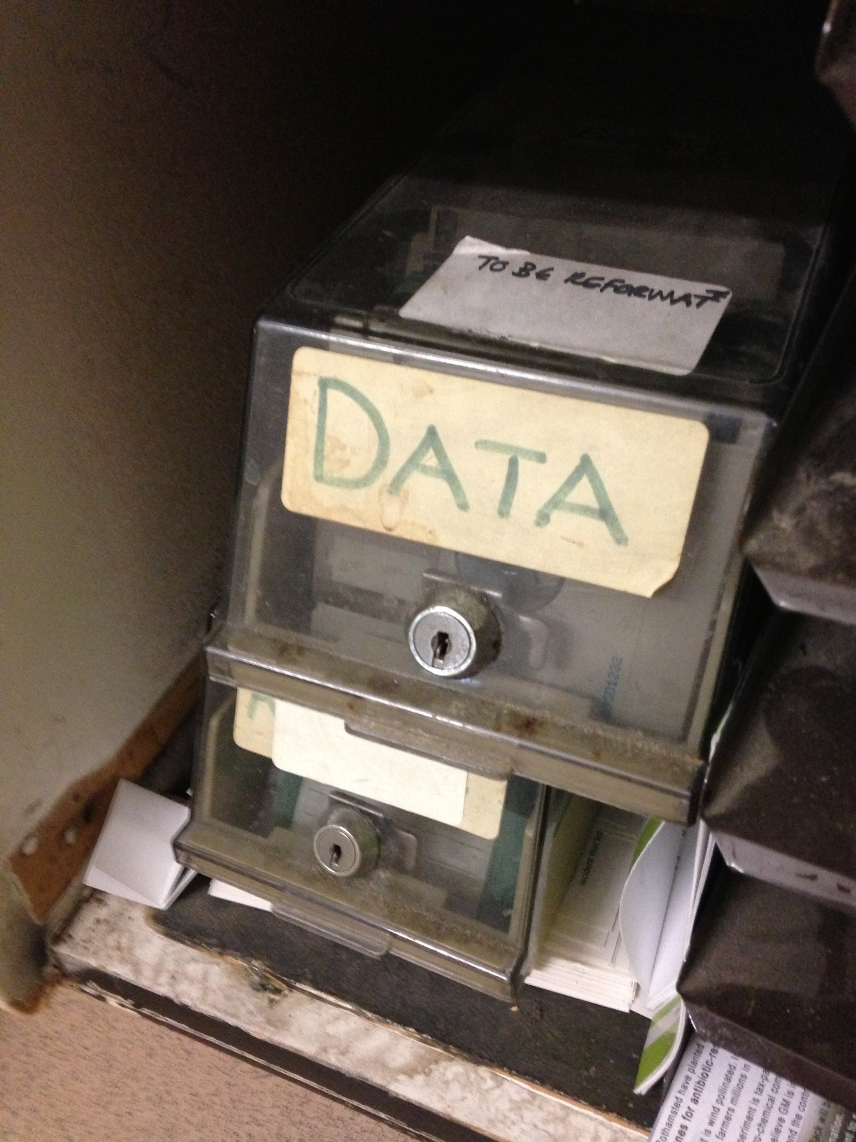 "floppy disks labeled ""data"""