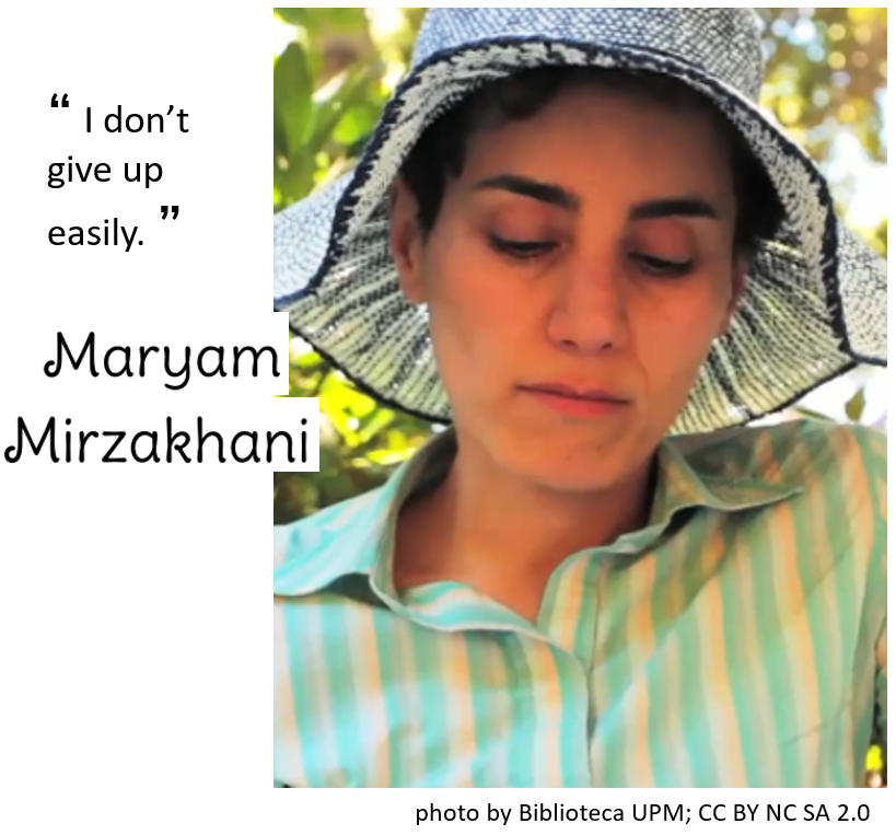 "Maryam Mirzakhani photo and quote: ""I don't give up easily"""