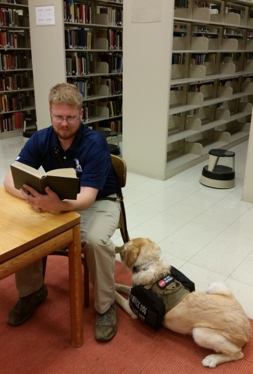 Student veteran with service dog reading at table in Bird Library.