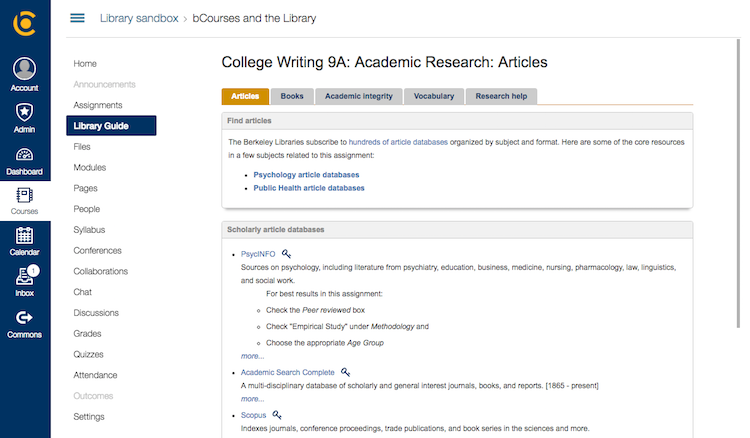 library guide link in bcourses