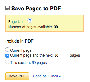 save pages to pdf dialog screen