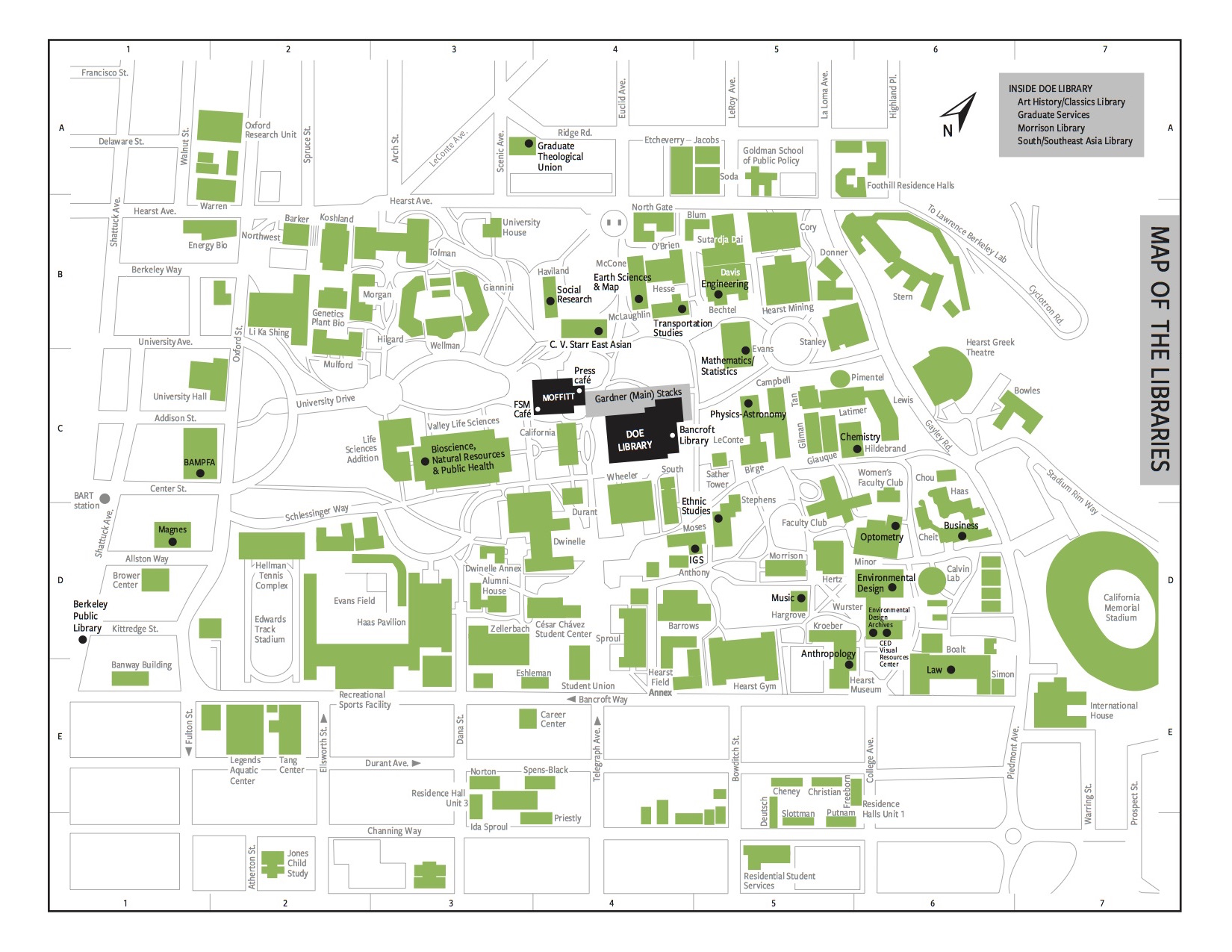 Campus map of UCB Libraries