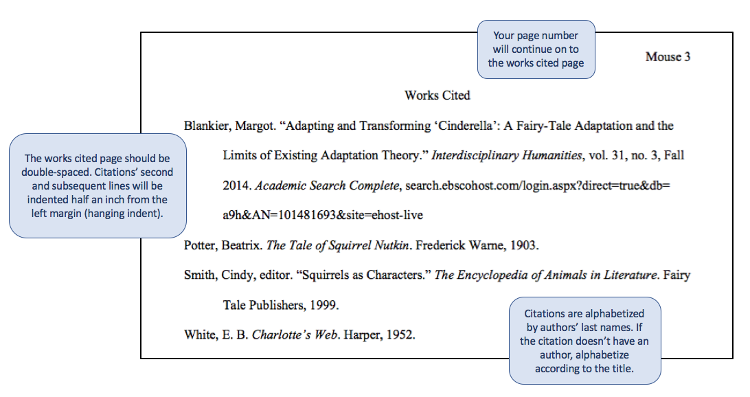 formatting your paper mla style guide for citations th edition  works cited page example
