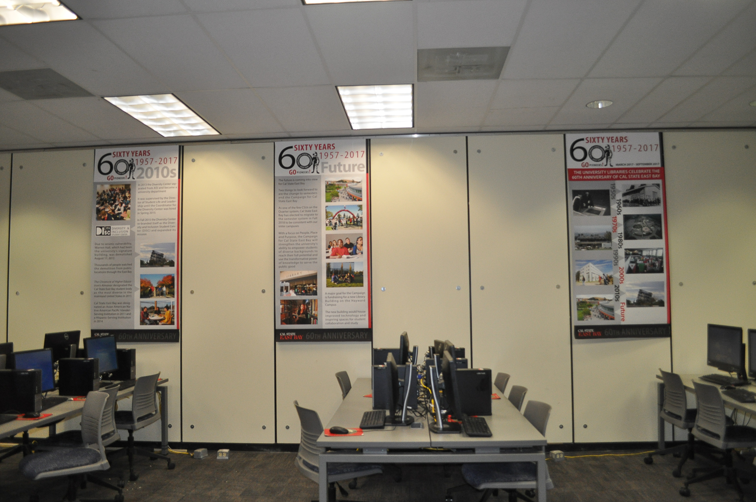 View of posters on South Wall UM Lobby of the Library