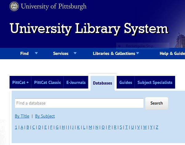 the Database search box from the main University Library System web page