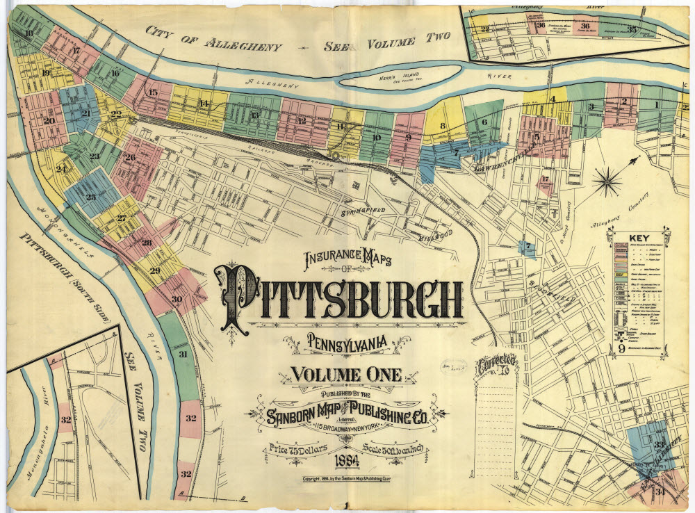 "A map of the city of Pittsburgh with an inset reading ""Insurance Maps of Pittsburgh, Pennsylvania. Volume One. Published by the Sanborn Map Publishing Co. / 115 Broadway New York. Price 75 Dollars. Scale 50 ft. to an inch. 1884."" There are sections of the city along the rivers colored in pastel red, blue, yellow, and green, with numbers assigned (1-32)"