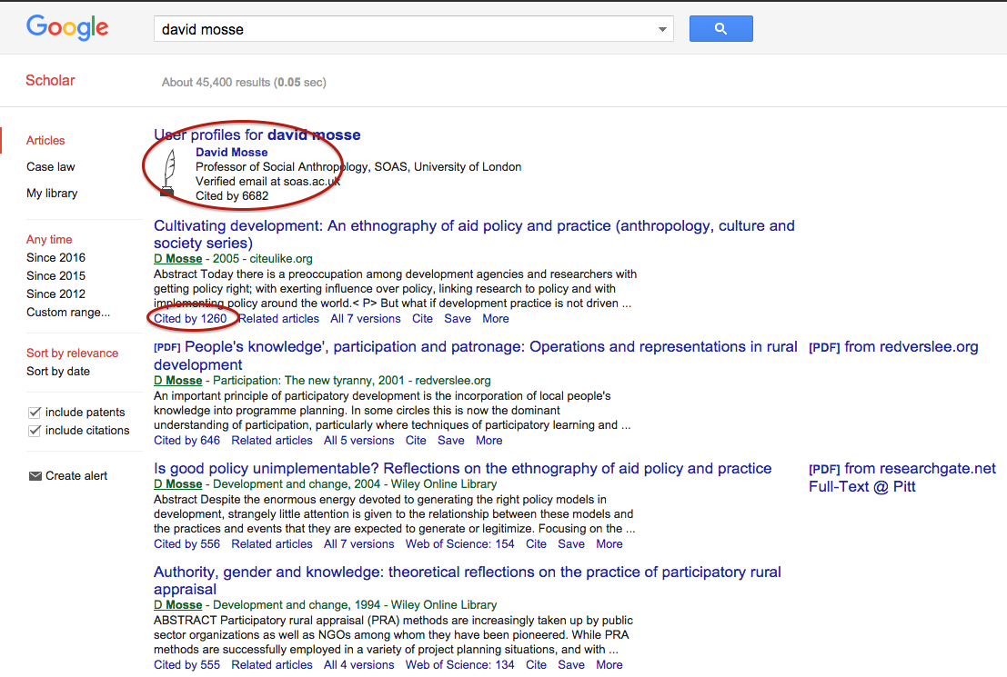 An Author Search In Google Scholar Will Produce A List Of Publications With  Citations As Well As Link To Google Scholar Profile (if Available)