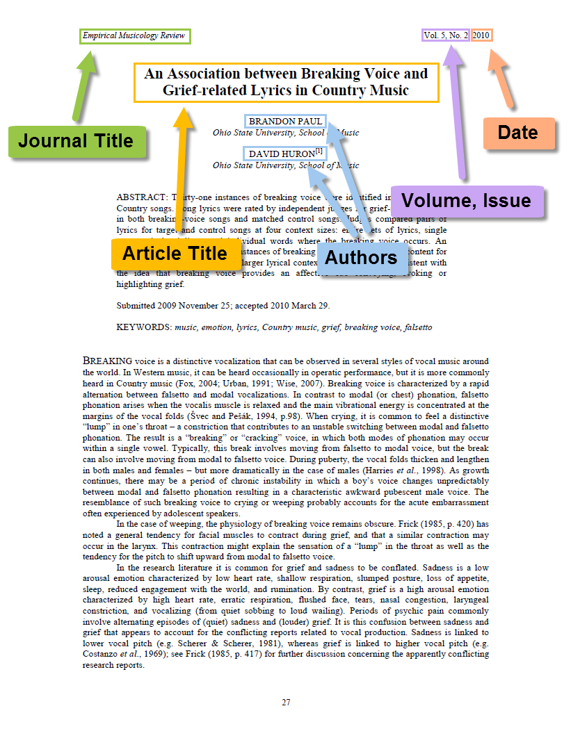 First page of a journal article, with arrows pointing to the journal title, article title, volume and issue numbers, date, and authors