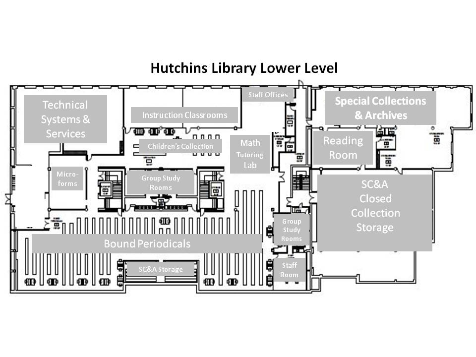 Hutchins Library Lower Level Map