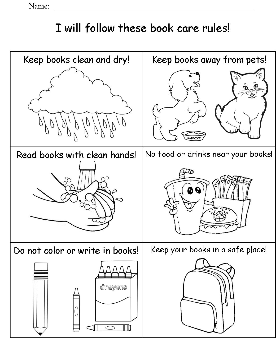 math worksheet : kindergarten  edgewood highland school library  rilink schools  : Parts Of A Book Kindergarten Worksheet