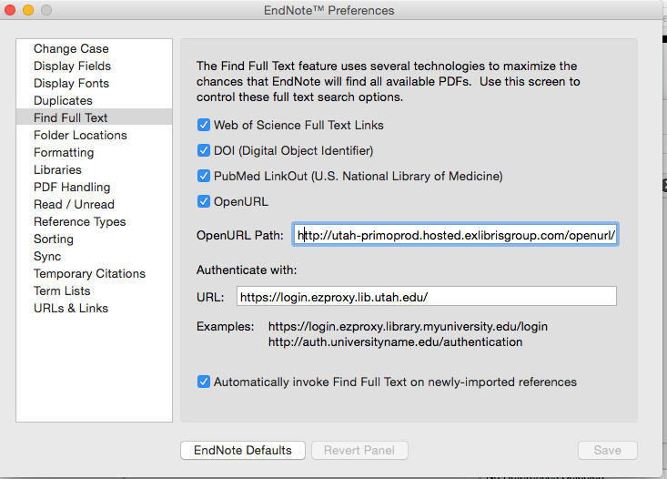 EndNote Preferences