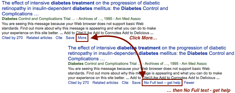 Screenshot of Google Scholar search results with relevant links pointed out. Under the article information, click the More link. Then click No Full Text - Get Help.