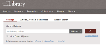 Catalog search feature on Library website