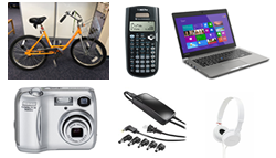 picture of bike, calculator, laptop, camera, adapter and headphones