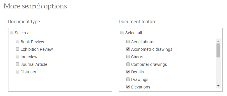 The Document Feature button is located under More Search Options on the Avanced Search Page