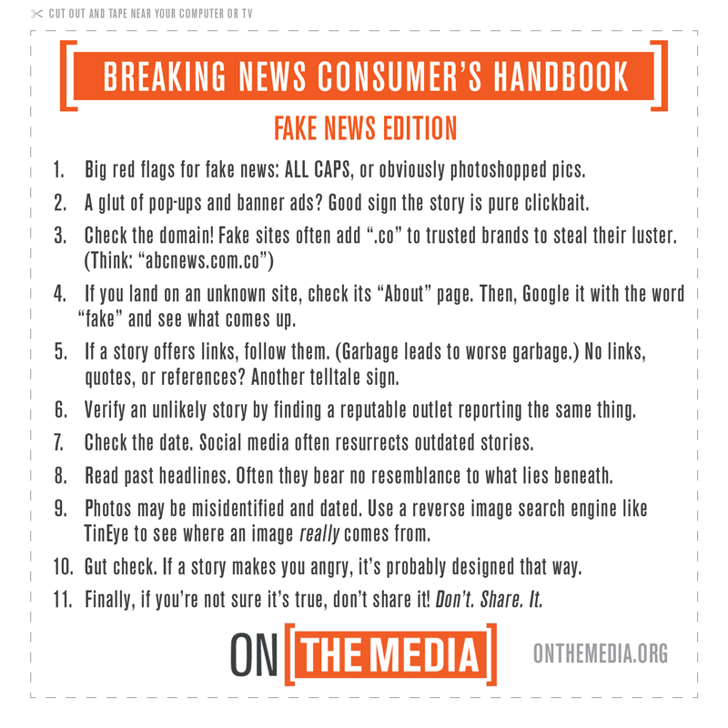 On the media fake news edition list of tips