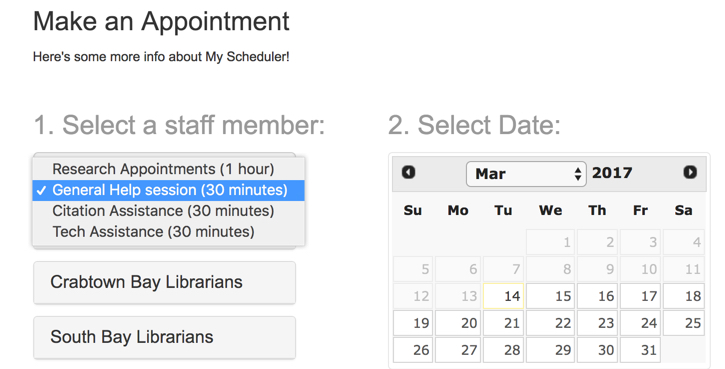 My Scheduler appointment categories