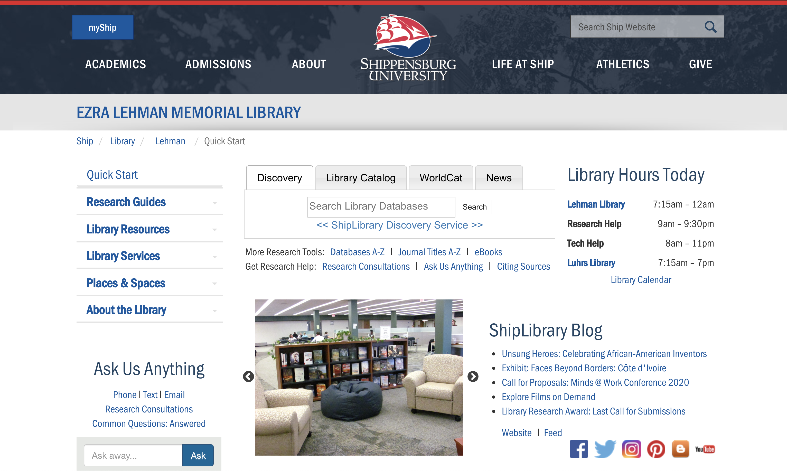 Shippensburg University Library Website