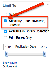 Scholarly Peer Reviewed Journals limiter