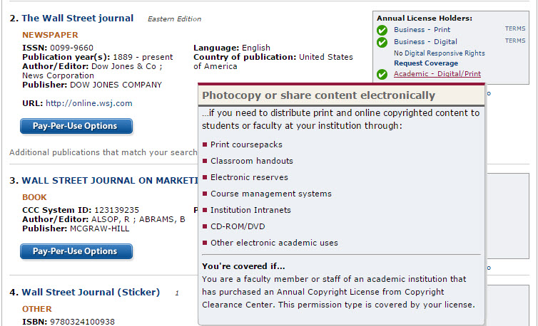 Copyright Clearance Center permissions for use of Wall Street Journal content under the Academic Annual License.