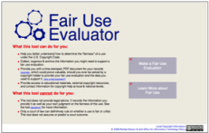 Fair Use Evaluator by Michael Brewer & ALA Office for Information Technology Policy, 2008.  CC 3.0 BY-NC-SA.