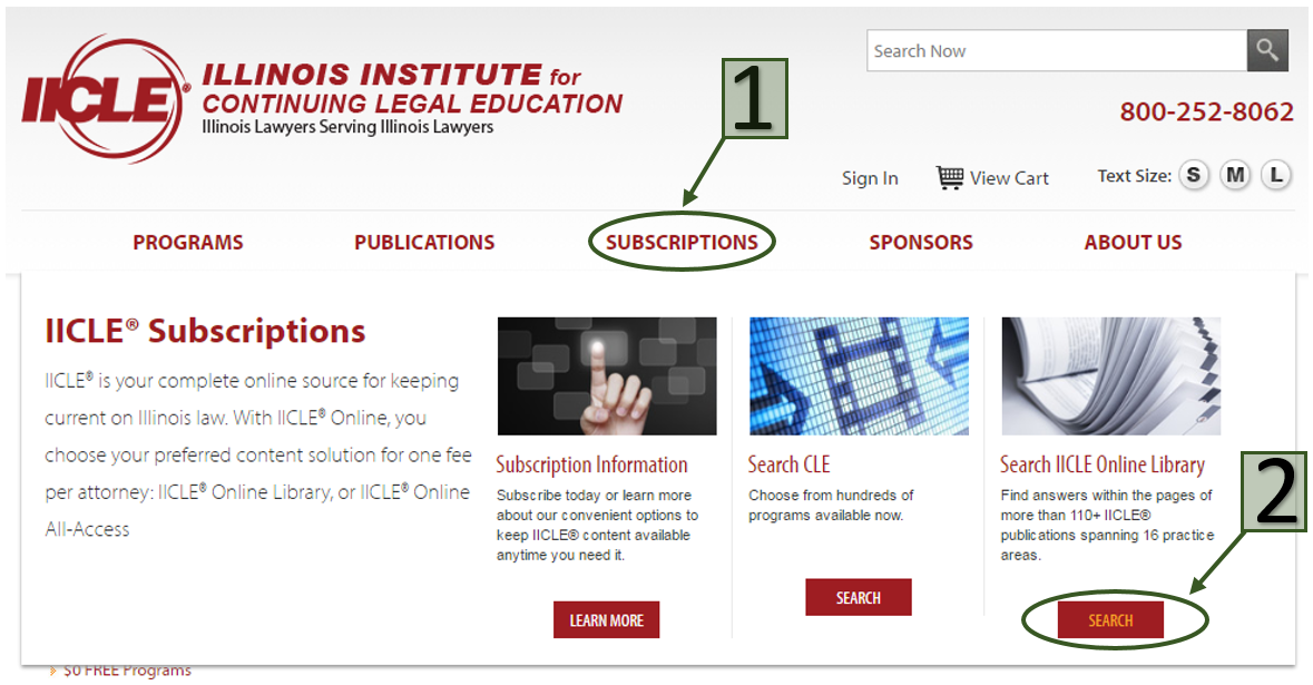 IICLE website with arrows pointing to first SUBSCRIPTIONS, and second SEARCH