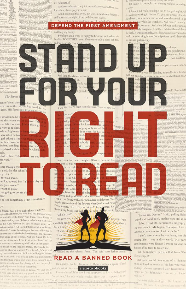 "Graphic with text, ""Stand Up for Your Right to Read."""