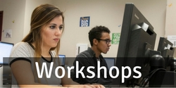 graphic link to workshops page. image is of a computer classroom