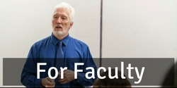 Graphical link for the library page for faculty. Image is of a professor writing on a chalkboard.