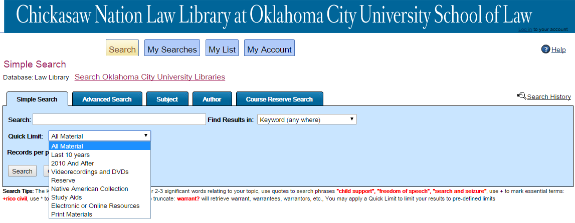 Narrowing a Search - Searching the Chickasaw Nation Law Library ...