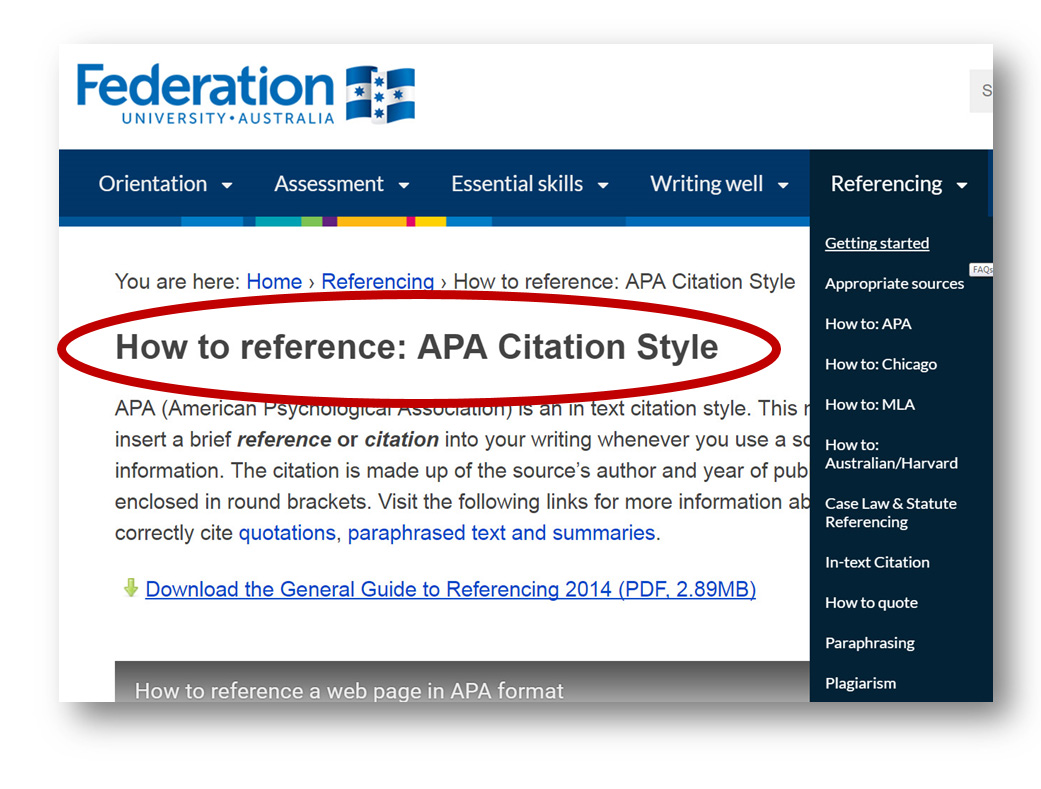 And A Link To The Federation University General Guide To Referencing ( Pdf  16mb) Includes