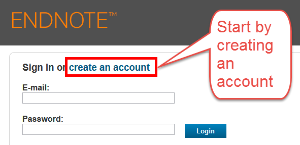 screenshot of login page indicating link to create an account